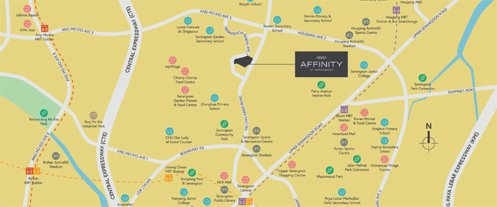 Affinity New Launch Balance Units Condo Sales at Serangoon Location Map