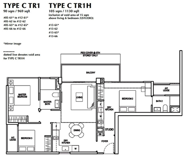3 Bedroom Dual Key Condo Floor Plan