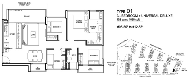 North Park 3 Bedroom + Universal Deluxe Floor Plan