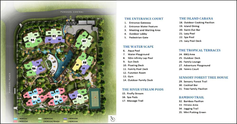 Singapore new property Parc Centros Site Plan with Indication of Full Condo Facilities