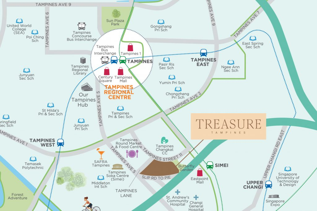 Treasure Tampines Condo Sales Location Map