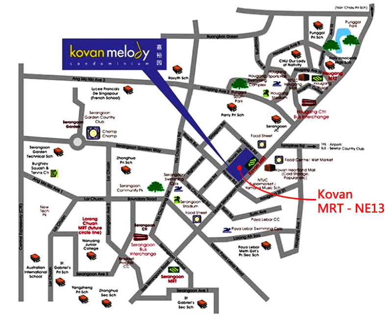 House in singapore  Kovan Melody  Location Map Best buy apartment in singapore