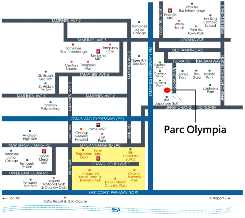 Most affordable condo in singapore Parc Olympia Condo Sales Location Map