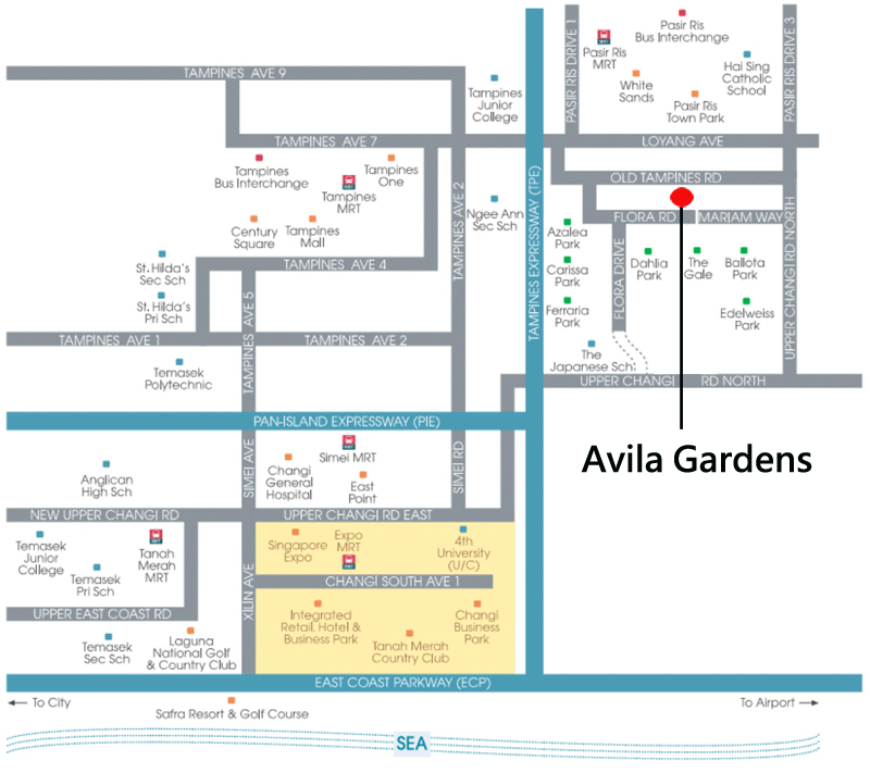 Private apartment Singapore Avila Gardens Condo Sales Location Map