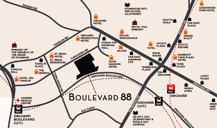 Singapore luxury apartments Boulevard 88 Location Map