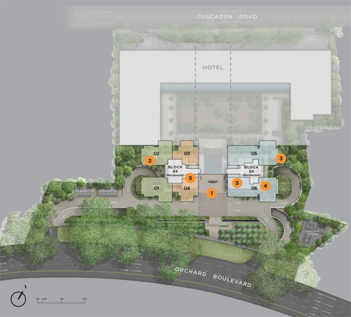 Luxury Freehold Condo Singapore Singapore real estate New Launch Boulevard 88 Site Plan on Level 1