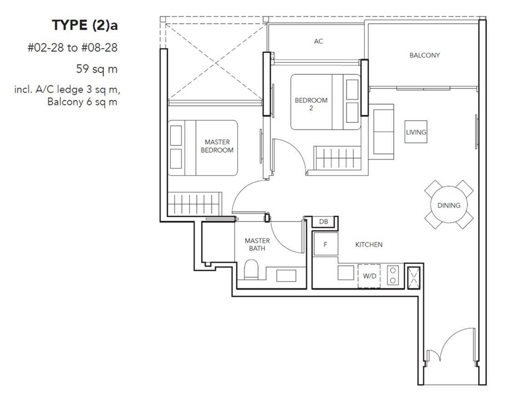 The Jovell 2 bedroom Floor Plan