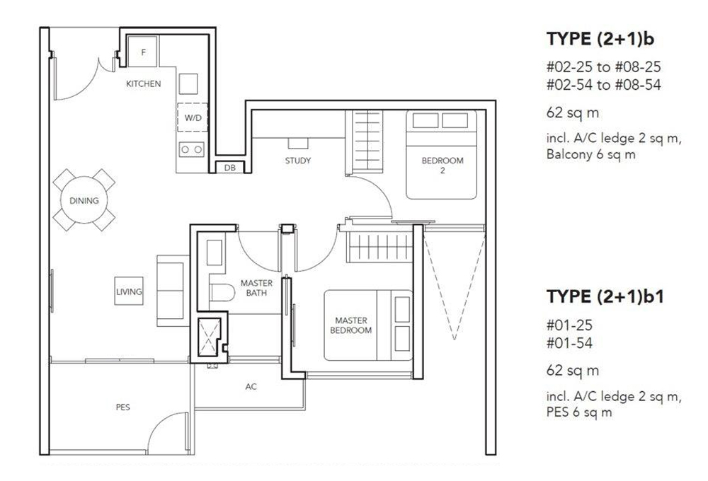 The Jovell 2 bedroom+Study Floor Plan