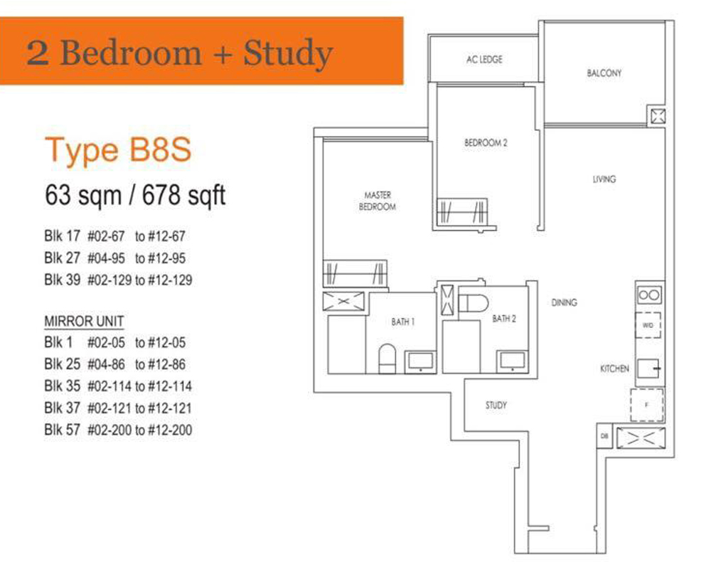 Treasure 2 Bedroom+Study Floor Plan