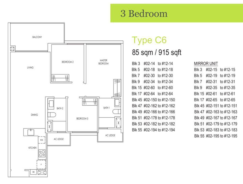 Residential apartments in singapore District 18 Elias Road 3 Bedroom Floor Plan