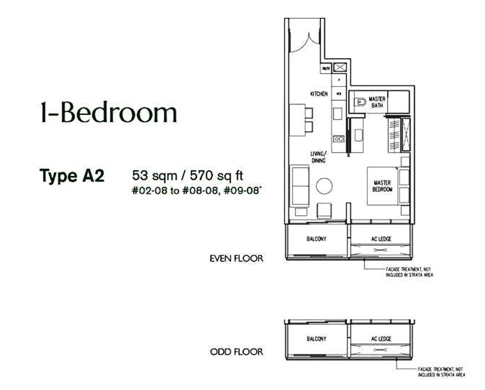 19 Nassim 1 bedroom Floor Plan