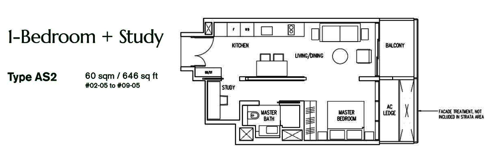 1 bedroom+Study Floor Plan