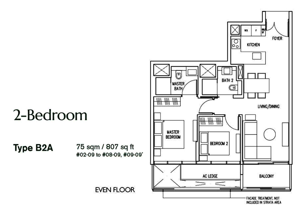 19 Nassim 2 bedroom Floor Plan