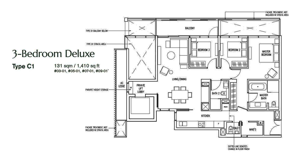 19 Nassim 3 bedroom Floor Plan