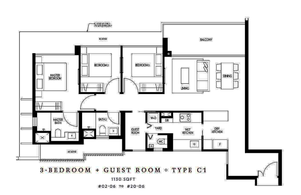 45 Amber 3 bedroom+Guest Room Floor Plan