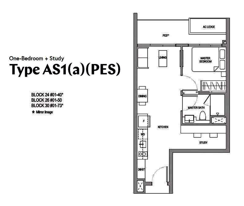 Affinity 1 bedroom+Study Floor Plan