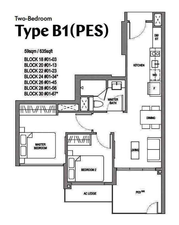 Affinity 2 bedroom Floor Plan