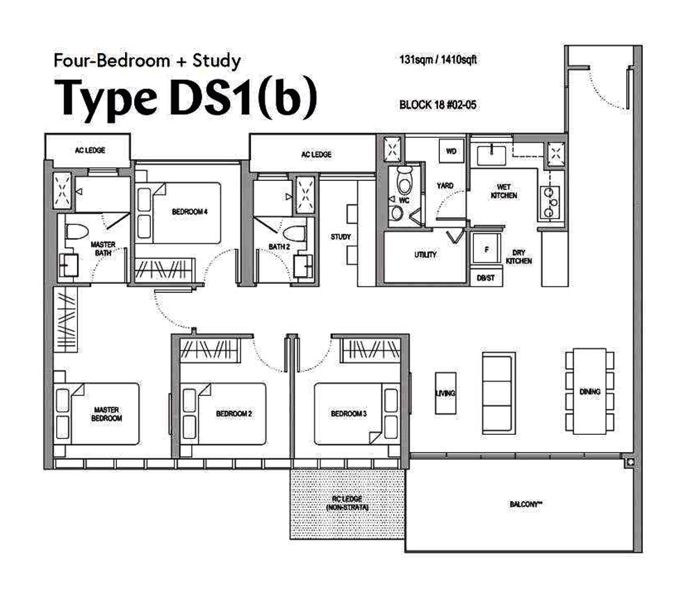 Affinity 4 Bedroom+Study Floor Plan