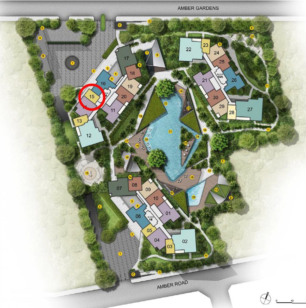 Amber Park 1 bedroom+Study Site Plan Condo Sales 安珀苑 near Amber MRT