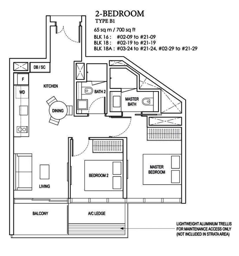 Amber Park 2 bedroom Floor Plan