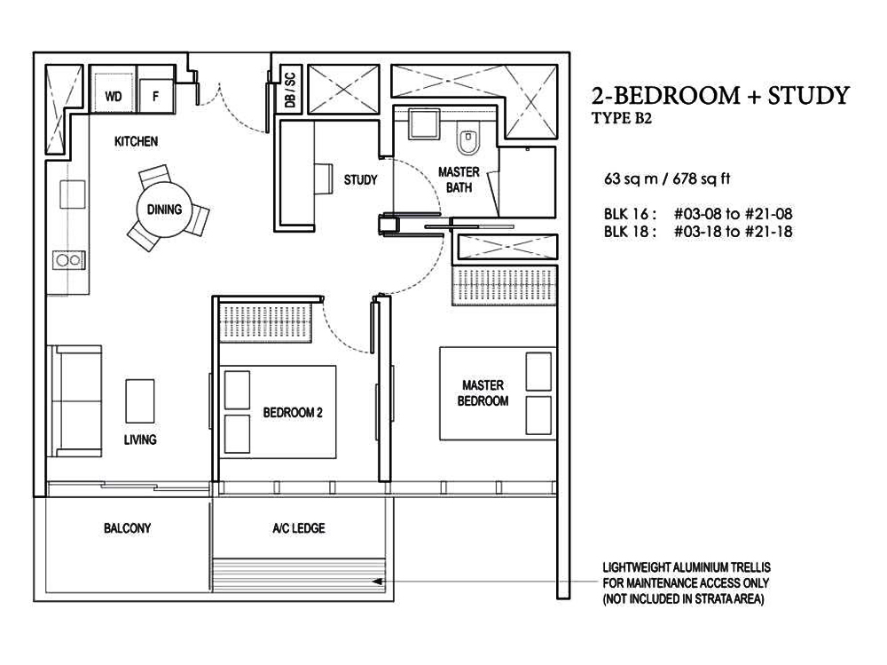 Amber Park 2 bedroom+Study Floor Plan