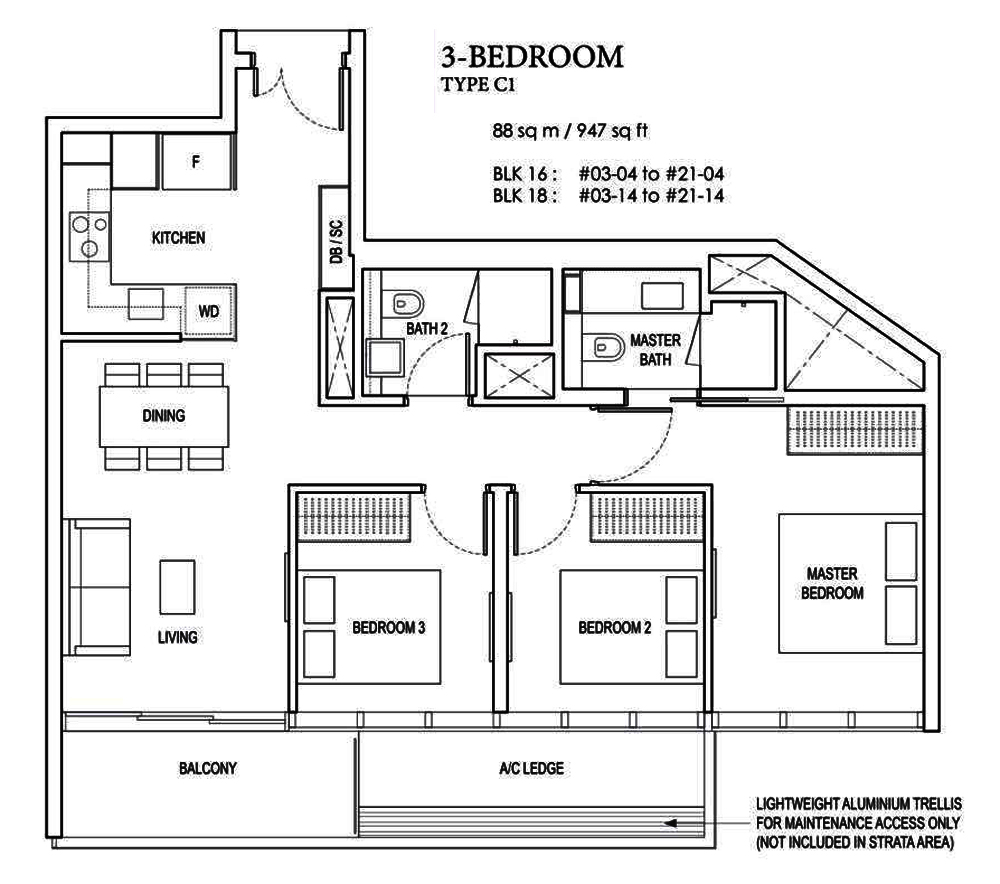 Amber Park 3 bedroom Floor Plan