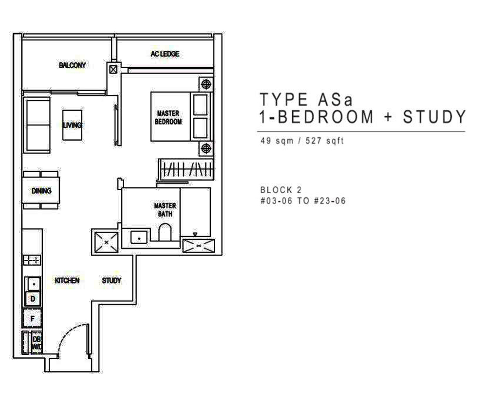 Jadescape 1 Bedroom+Study Floor Plan