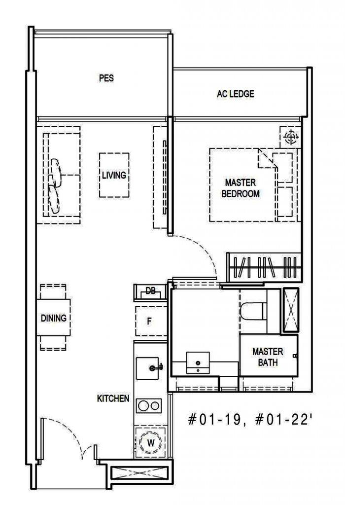 Kandis Residences 1 Bedroom Floor Plan