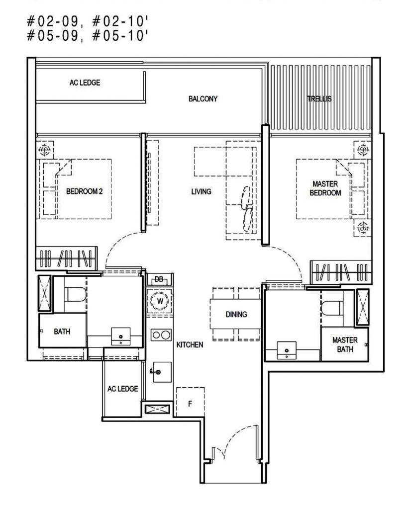 Kandis Residences 2 Bedroom Floor Plan