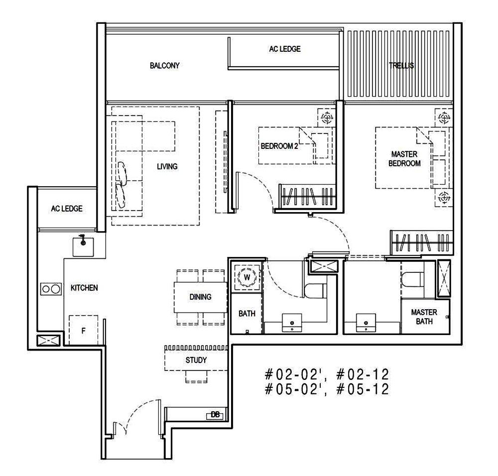 Kandis Residences 2 Bedroom+Study Floor Plan