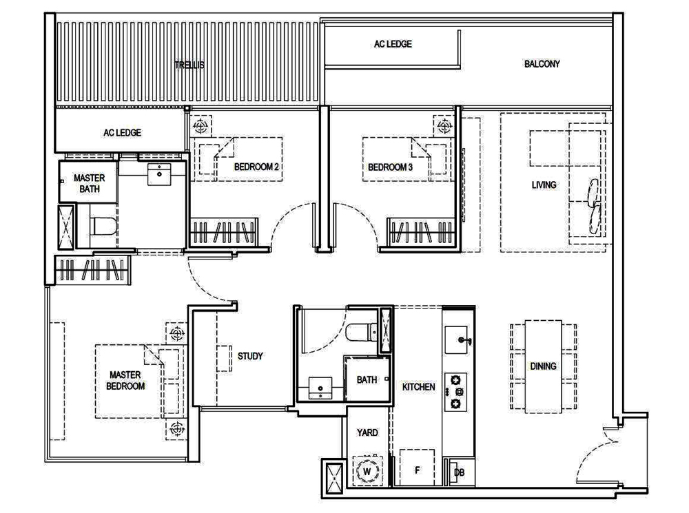 Kandis Residences 3 Bedroom+Study Floor Plan