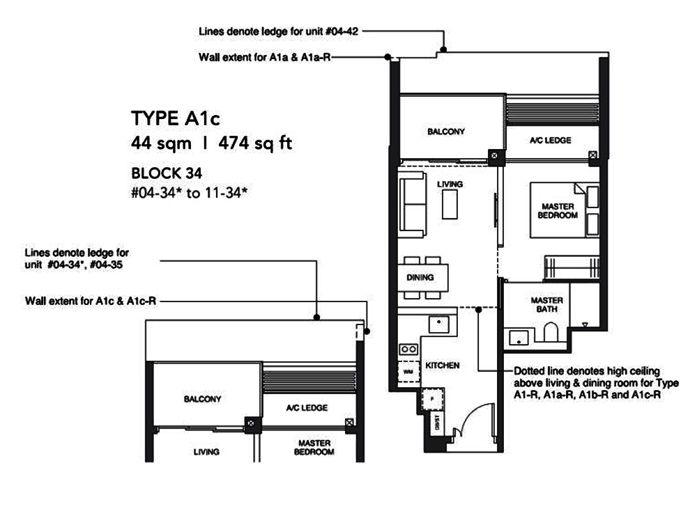Leedon Green 1 Bedroom Floor Plan