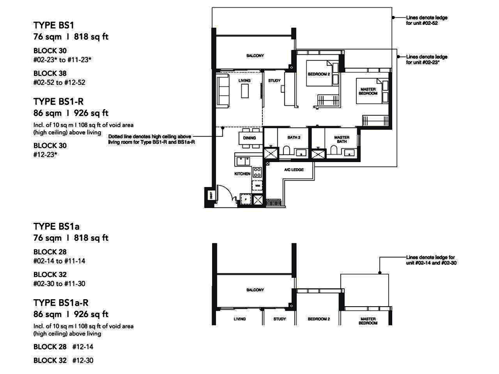 Leedon Green 2 Bedroom+Study Floor Plan