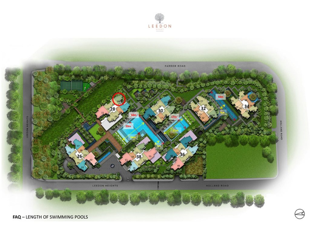 Leedon Green 2 Bedroom+Study Site Plan