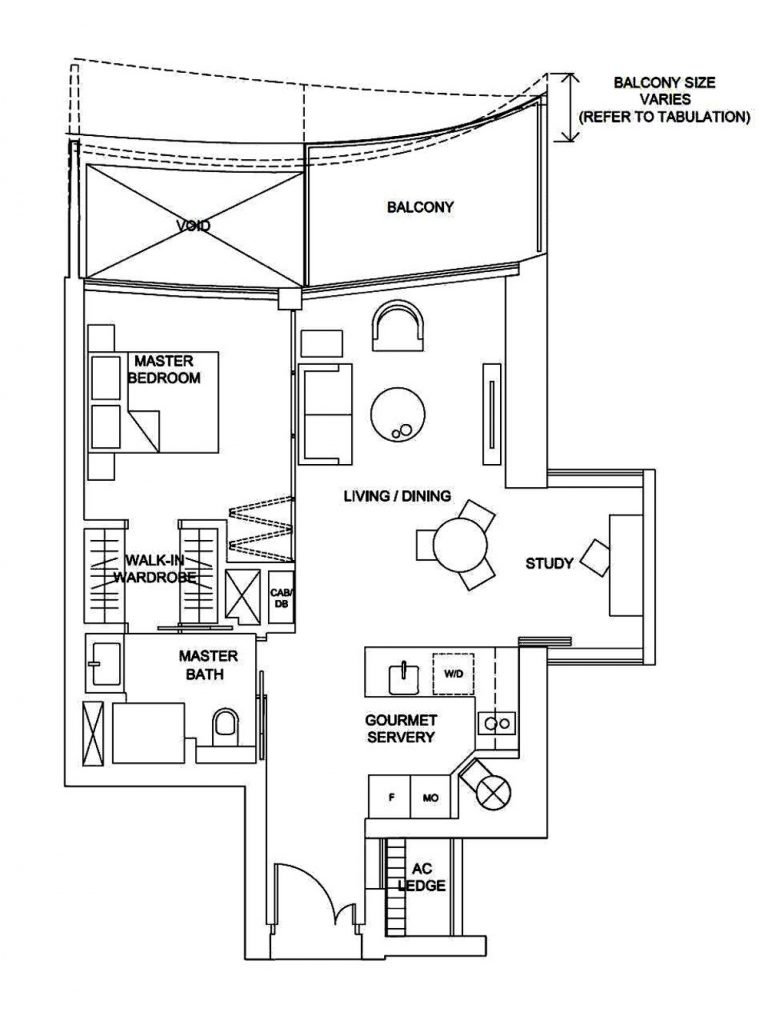 Marina One Condo 1 Bedroom+Study Floor Plan