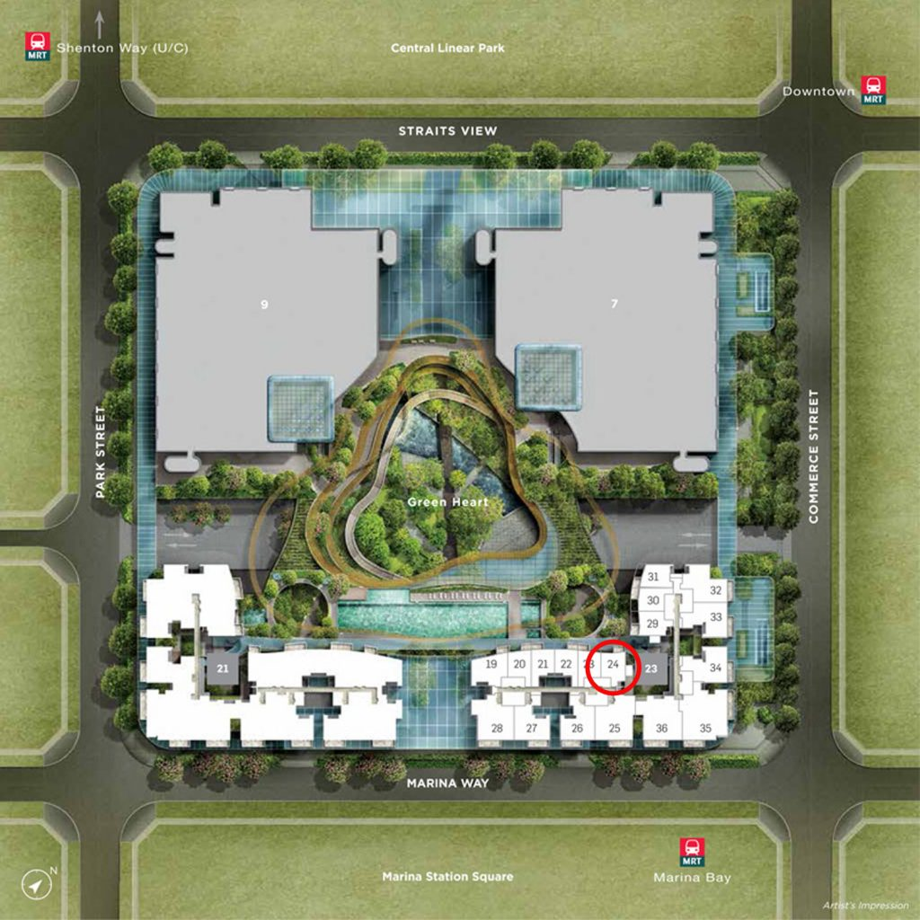 Marina One Condo 1 Bedroom+Study Site Plan