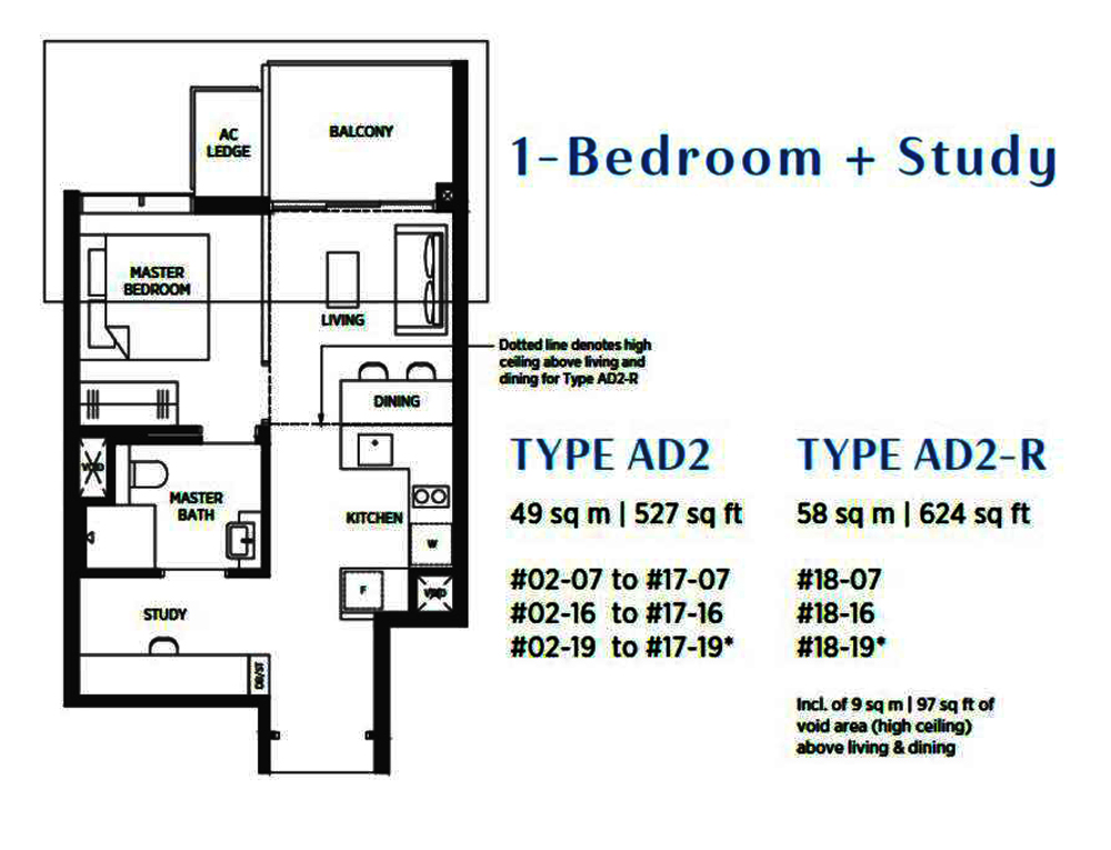 Sims Avenue Singapore new launch Parc Esta 1 Bedroom+Study Floor Plan