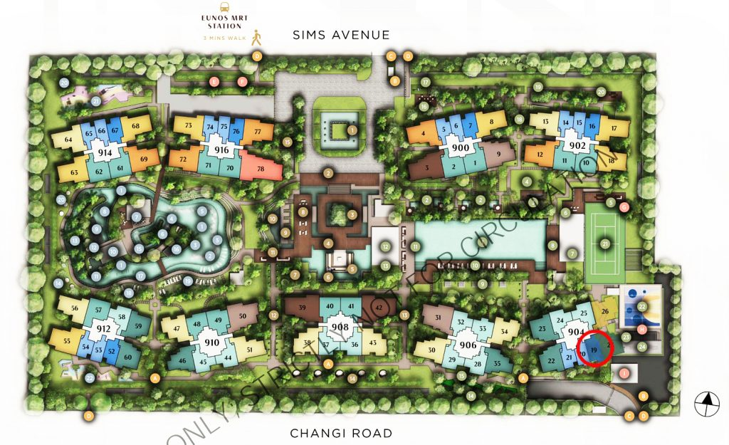 Sims Avenue Singapore new launch Parc Esta 1 Bedroom+Study Site Plan