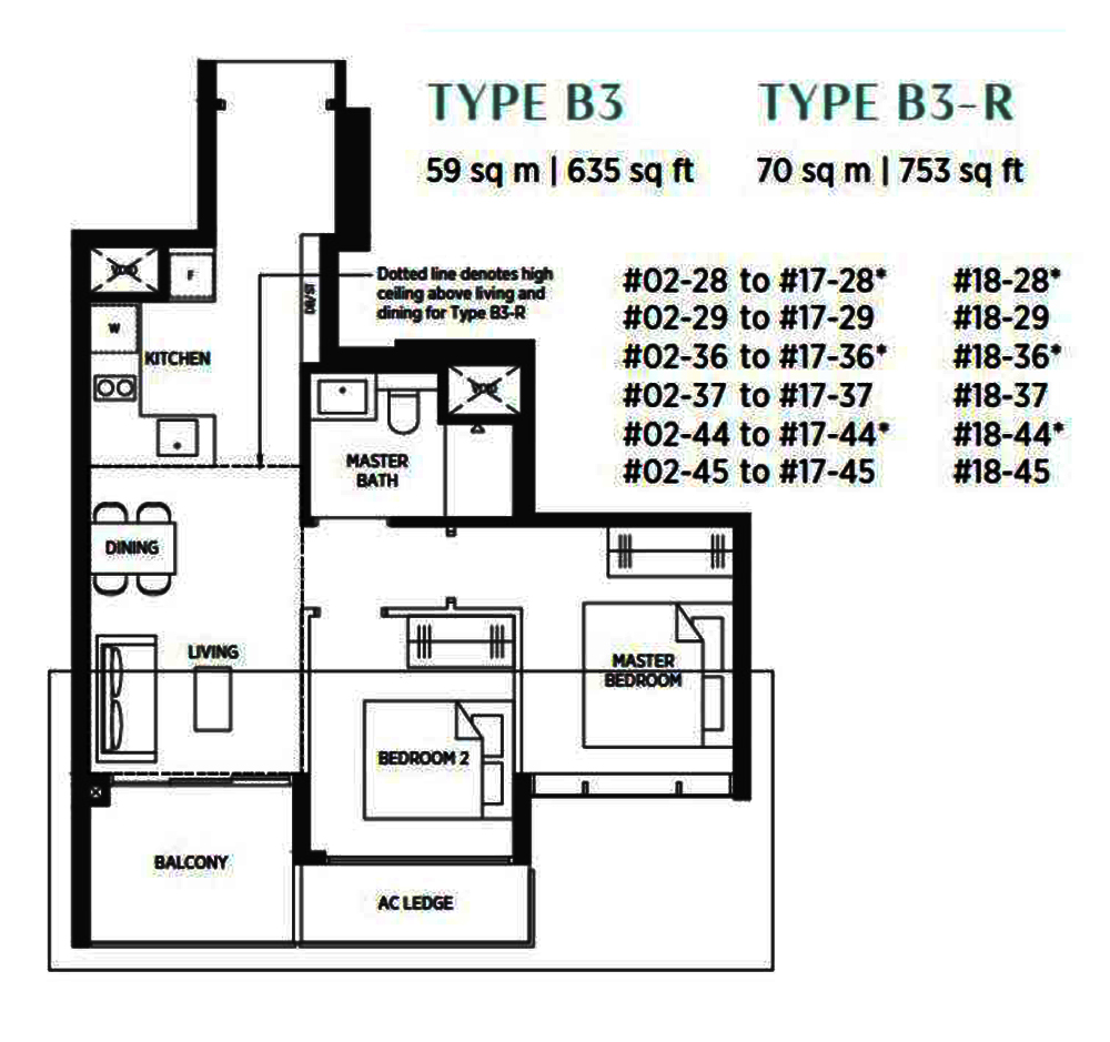 Sims Avenue Singapore new launch Parc Esta 2 Bedroom Floor Plan