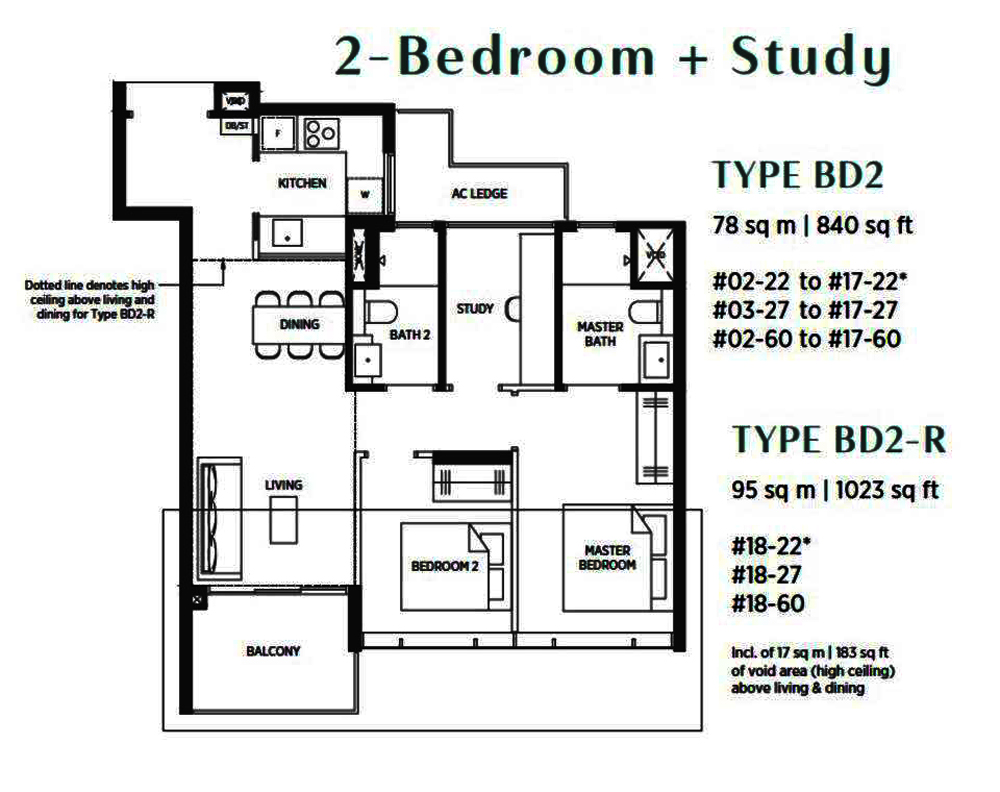 Parc Esta 2 Bedroom+Study Floor Plan