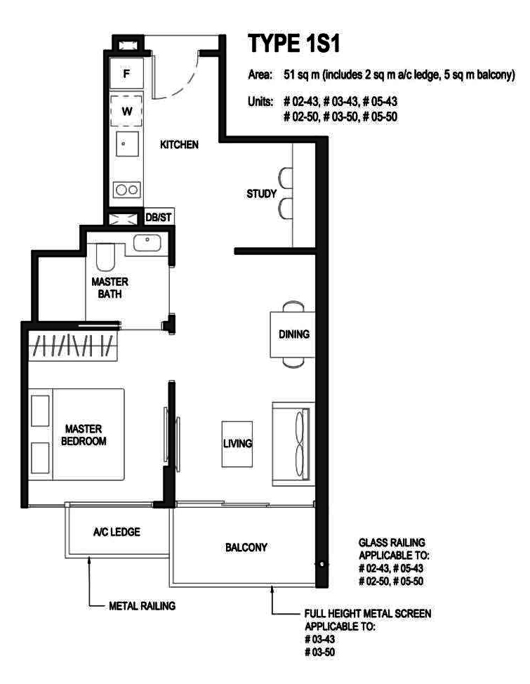 Parc Komo 1 Bedroom+Study Floor Plan