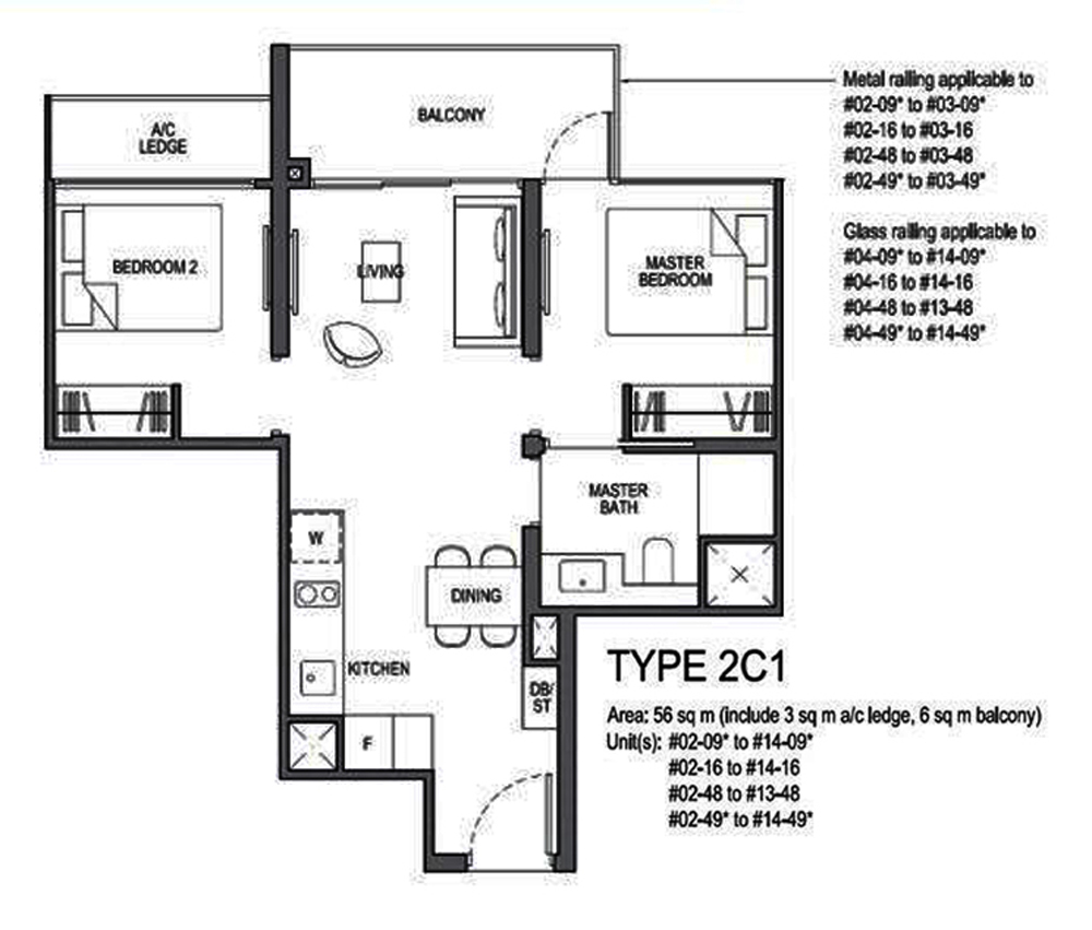 Park Colonial 2 Bedroom Floor Plan
