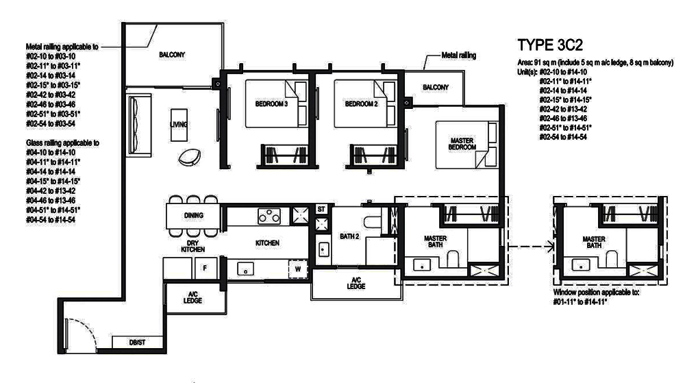Park Colonial 3 Bedroom Floor Plan