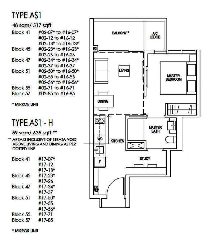 Riverfront Residences 1 Bedroom+Study Floor Plan