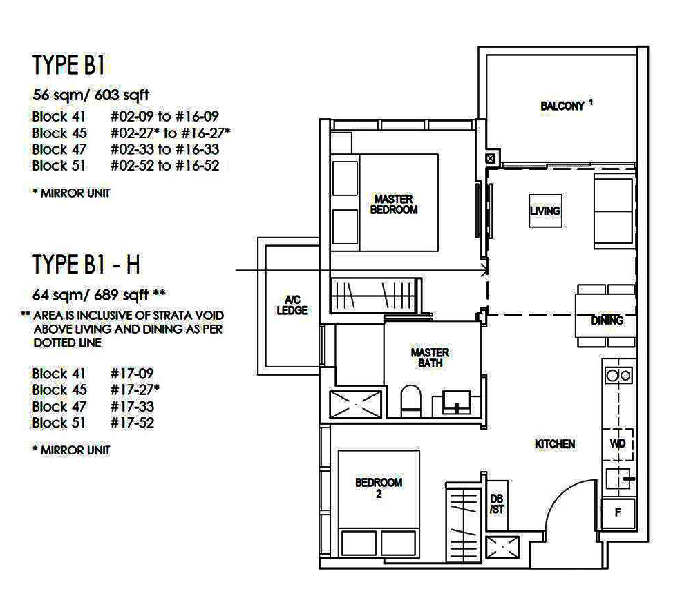 Riverfront Residences 2 Bedroom Floor Plan
