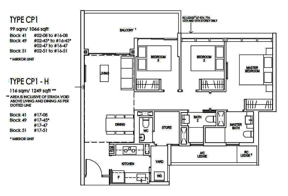 Riverfront Residences 3 Bedroom Premium Floor Plan