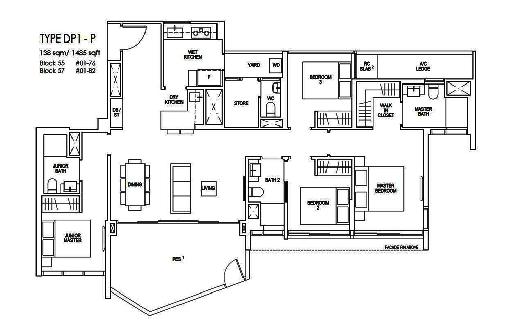 Riverfront Residences 4 Bedroom Premium Floor Plan