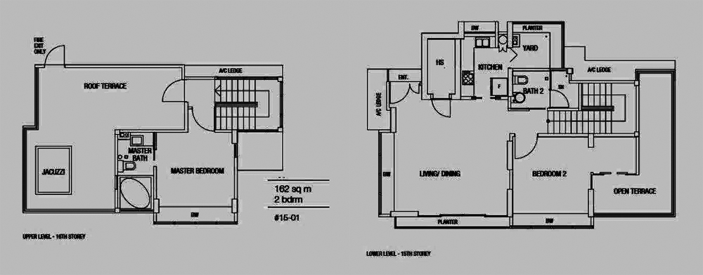 Riverside Melodies 2 Bedroom Penthouse Floor Plan