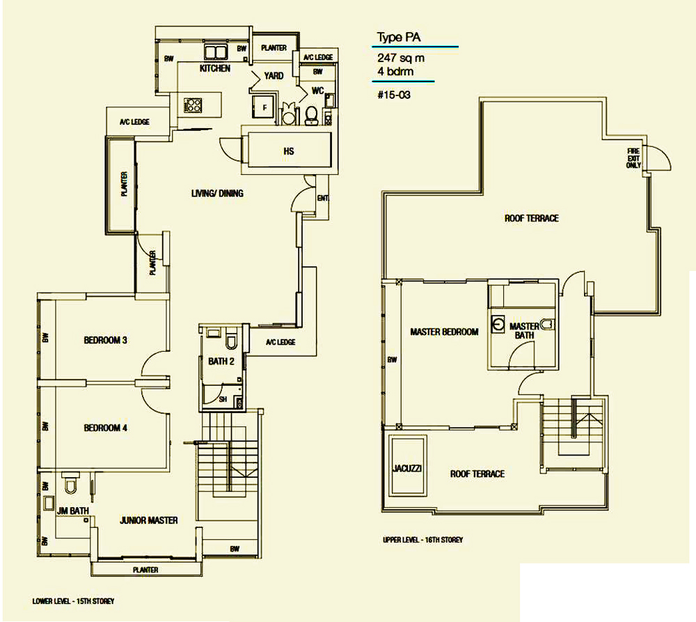 Riverside Melodies 4 Bedroom Penthouse Floor Plan