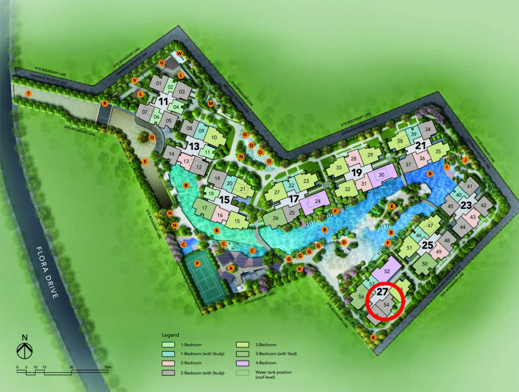 New development singapore The Jovell 2 bedroom+Study Site Plan Changi Flora Drive condo New Launch Condo Units